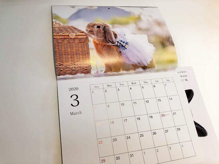 うさぎ雑誌「うさぎのきもち」付録のカレンダー