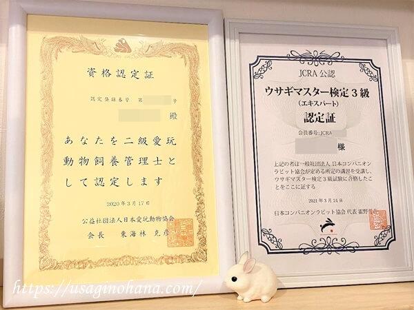 二級愛玩動物飼養管理士の資格認定証とJCRA公認ウサギマスター検定3級(エキスパート)の認定証
